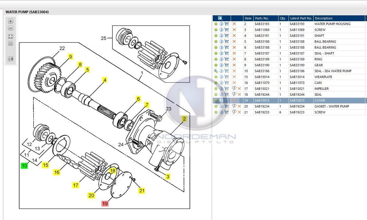 Sab33004 Jabsco Raw Water Pump Perkins Supercedes To Sab34722